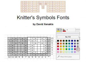 Knitter's Symbols Fonts - pictures taken from screenshot of the website