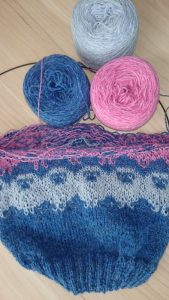 Not a beginning knitter project but my current project Where the Wild Sheep Roam