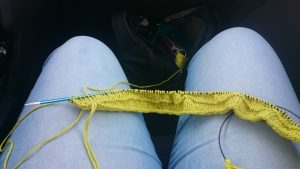 vacation knitting experiences - Knitting in the car on the way to Boltenhagen