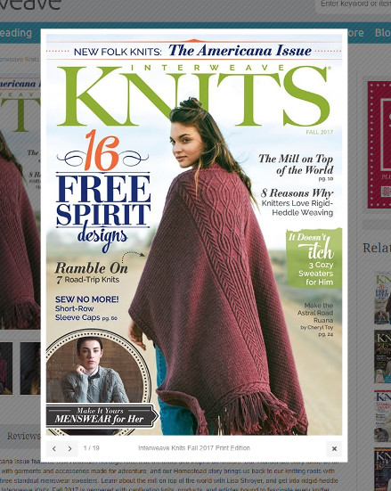 Interweave Knits Fall 2017 - Astral Road Ruana cover (screenshot taken from Interweave Website)