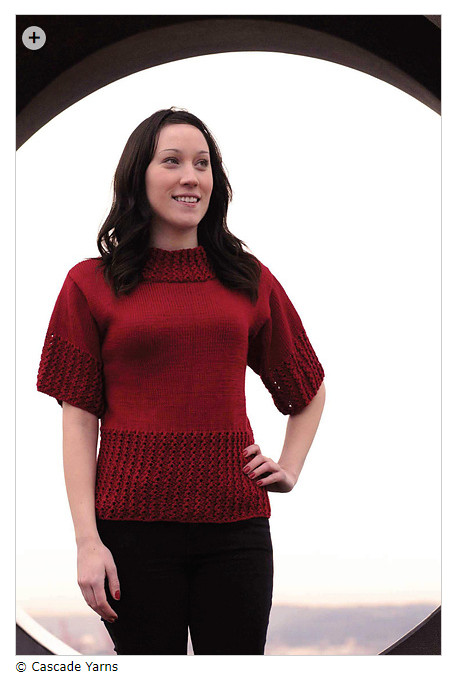 c14ed7b1e4aad6 Free Beginner Sweaters - Ribbed Lace Trimmed Short-Sleeved Top by Lily M.  Chin