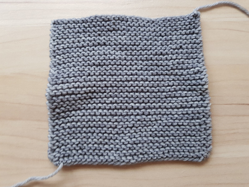 gauge swatches - A garter stitch gauge swatch for Woolly Wormhead's Korra (in Wollkenschaf DK Merino, the pattern said to knit swatch in garter because the whole hat is in garter stitch)