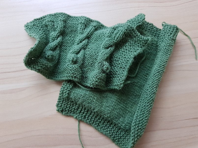gauge swatches - I am currently swatching for my secret project that will be revealed later this year. Here are a stockinette swatch and one in a stitch pattern I want to use (yarn is Drops Flora)