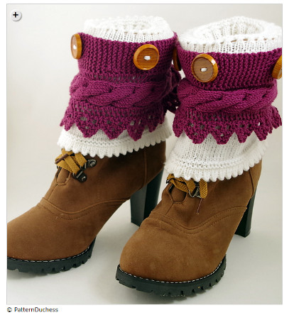 sock yarn patterns - 2-in-1 Boot Cuffs With Buttons And Lace by Mari-Liis Hirv