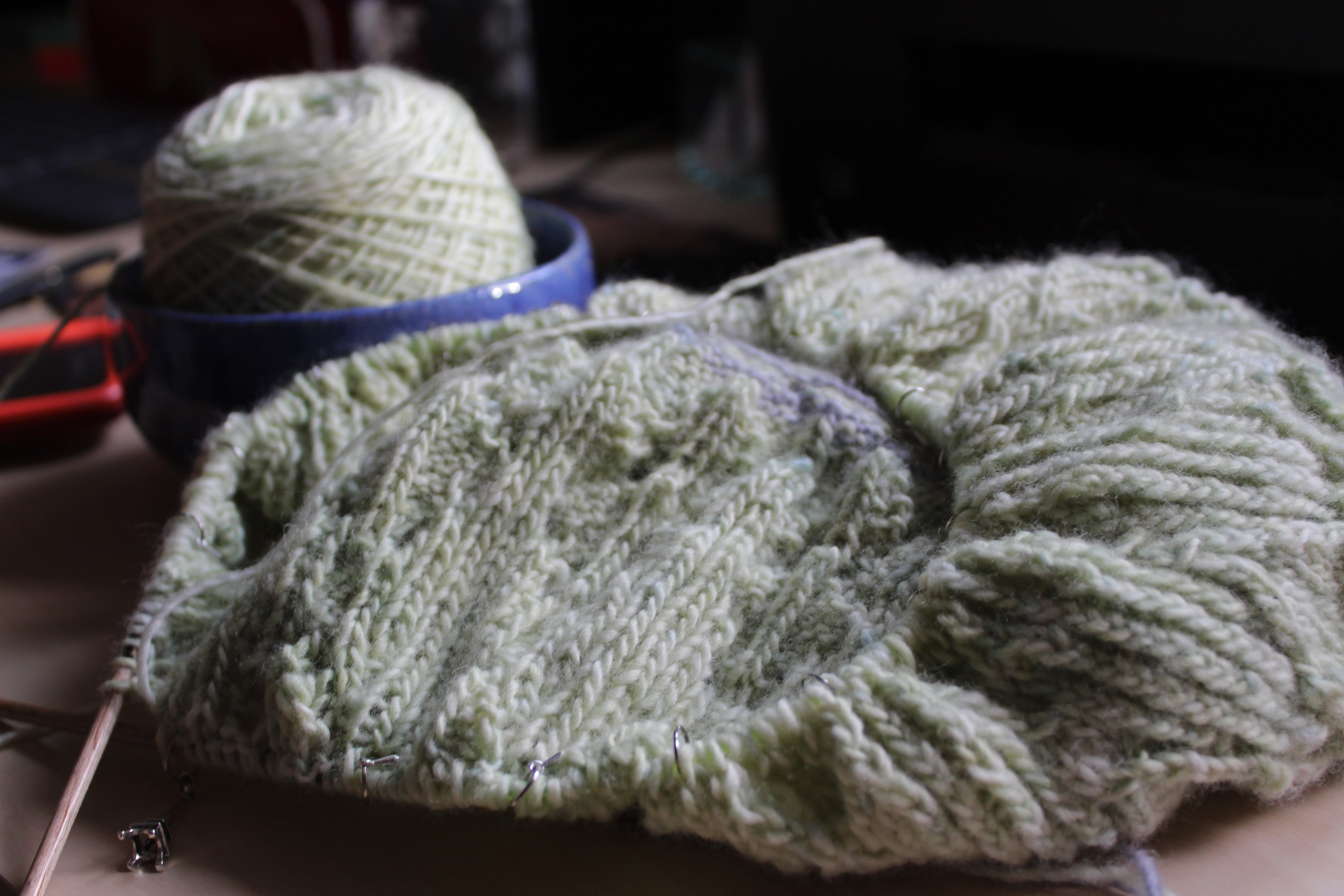 interview - Knitting with her own yarn - this is a Zweig sweater in progress