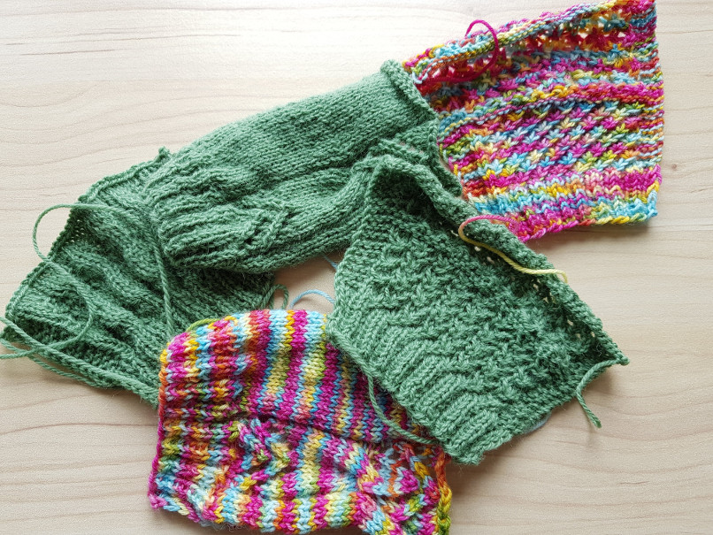 What knitting means to me - Swatches, just trying out a few stitch patterns. You'll see more of these in the future