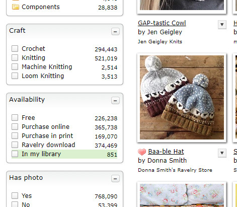 start for your knitting year - Ravelry's advanced pattern search. You can filter the patterns so you can see all those in your library, which is a very neat feature.